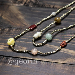 Anthropologie Two Strand Stone Necklace